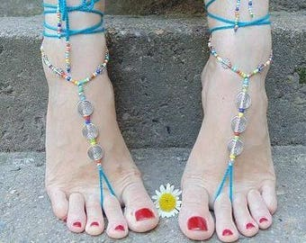 Turquoise barefoot sandals Foot jewelry hippie spiral sandals toe ring anklet crochet barefoot tribal festival beach yoga lace anklet