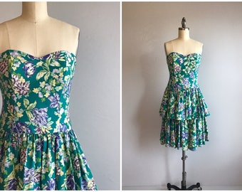 Vintage 80s Laura Ashley Dress / 1980s Ruffled Flounced Bright Color Floral Print Tiered Mini Strapless Sundress