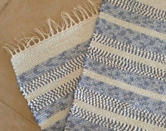 Hand Woven Striped Rug, Accent Rug, Floor Runner, Door Mat, Dog Mat of assorted knits in Blue and White