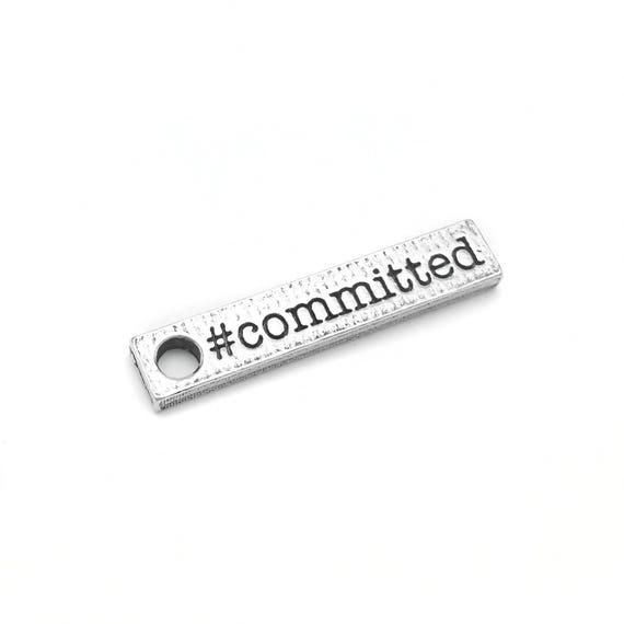 Committed Charm - Fitness Jewelry and Accessories - Hypoallergenic Pewter USA Made - Sterling Silver Alternative - Motivational Jewelry