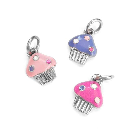 Cupcake Charm - Add a Charm to a Custom Charm Bracelets, Necklaces or Key Chains - Read Description for More Info - Nickel Free