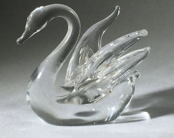 Clear Glass Swan