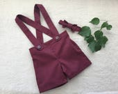 Custom order for Tyson ring bearer outfit maroon burgundy baby boy suspender shorts and hat