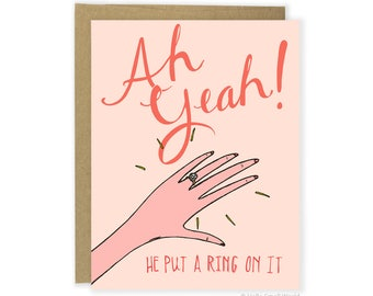 He Put A Ring On It Card, Funny Engagement Announcement, Engagement Congrats Card, Engagement Congratulations Card For Friend, For Her, Girl