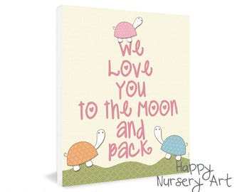baby girl wall art, we love you to the moon quote,nursery decoration, love you to the moon, turtles, children decor,emotional love quote art