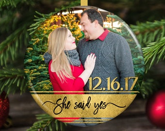 Engaged Christmas Ornament - Engagement Announcement - Engagement Gift
