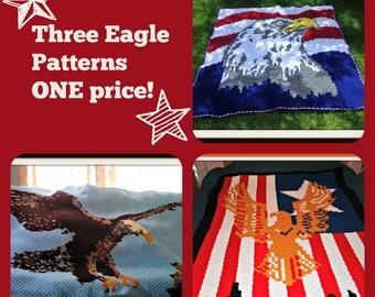 Three Eagle Afghan, C2C Graphs, Crochet Pattern, Set of 3 Eagle patterns