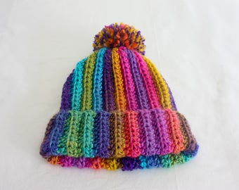 Rainbow Pom Pom Beanie - Super Soft and Cozy - Handmade Winter Hat - Limited Edition - Noelebelle - Ready to Ship
