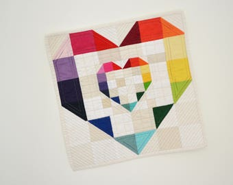 Heart Quilt, Heart Wall Hanging, Mini Quilt, Rainbow Heart, Rainbow Wall Hanging, Valentines Day