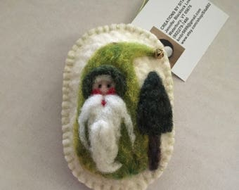 Needle Felted Santa Gnome With Green Body With Tree And A Jingle Bell