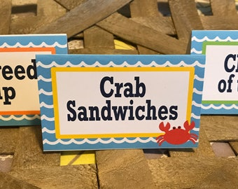 UNDER THE SEA Theme Happy Birthday or Baby Shower Buffet Cards Table Tents Food Labels {Set of 8}- Party Packs Available