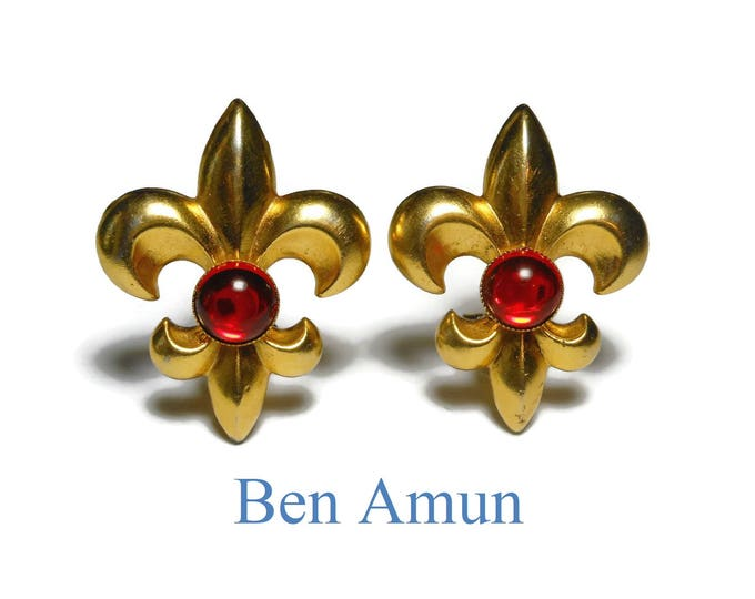 FREE SHIPPING Ben Amun Fleur de lis earrings, gold plated clip earrings, ruby red glass cabochon, large statement earrings, french royalty