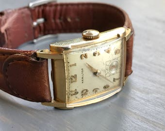 Vintage Hamilton Mechanical Wrist Watch Norman 1951 Mens Watch 19 Jewels 982 Gift for Him