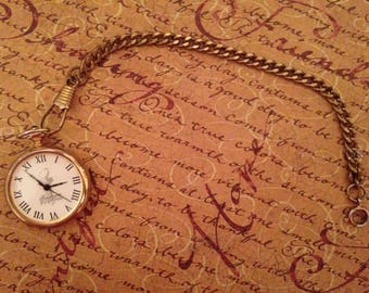 Vintage Ladies Pocket Watch & Chain- gold filled, works well