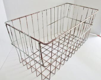 Vintage Wire Basket Large Metal Wire Storage Basket Chipped Rusty Industrial Decor