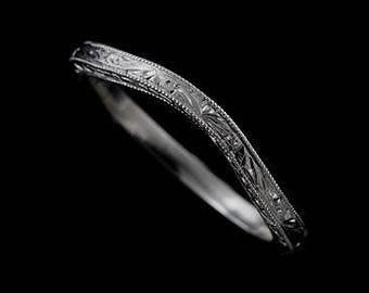 Vintage Style Wedding Ring, Contour Wedding Ring, Engraved Wedding Ring, Thin Platinum Band, Milgrain Wedding Band, Delicate Band Ring 1.6mm