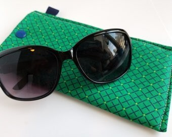 Padded Sunglass Case with Snap- Navy and kelly green