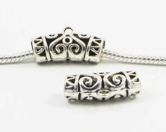 5 Bails - Large Carved Silver Tone European Charm Bead E0318
