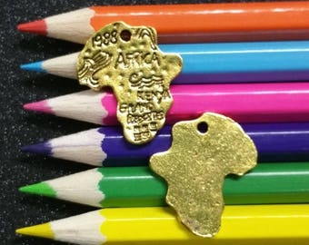 10 PCS - Africa Continent Map World Gold Charm Pendant C0938