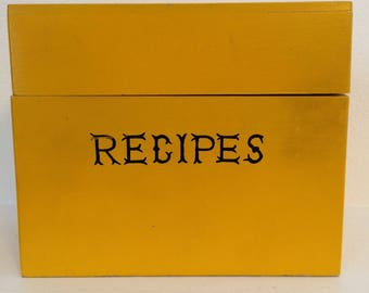 vintage made in japan yellow wooden recipe box