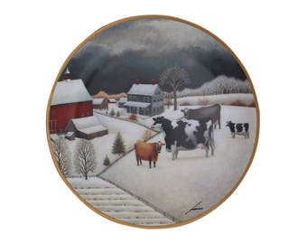Vintage Cows in Winter Limited Edition Collectors Plate, Franklin Mint, The American Folk Art Collection, Fine Porcelain