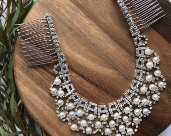 Pearl & rhinestone wedding headpiece, Bridal accessory hair chain, Bridal hair jewelry, Boho Bridal headpiece for back of the head,