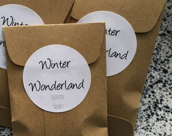 Placecard Favors Winter Scents Sachets Scented Personalized Rustic Winter Wedding Favors for Guests Bulk Christmas Gifts Winter Onederland