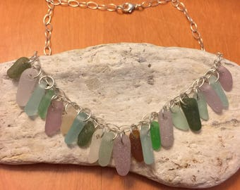 Sea glass necklace with 21 pieces of colorful sea glass
