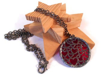 Red Heart Necklace Stained Glass Necklace Red Glass Necklace Handmade Necklace Glass Metal Pendant Red Glass Pendant Heart Necklace Unique