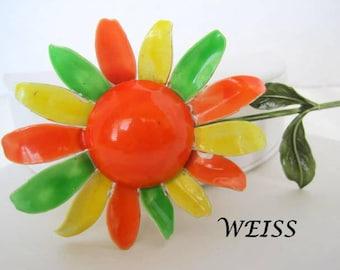 Weiss Flower Brooch - Yellow Orange - Large Enamel  Pin