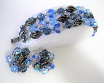 Blue Art Glass Bracelet and Earrings, Art Glass Lampwork, Rhinestones Clasp, Triple Strand