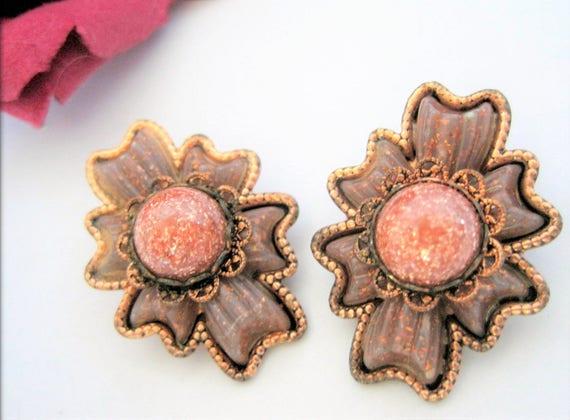 Copper Mid Century Earrings - Goldstone Center -  Copper Modernist - Clip Ons