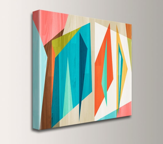 "Mid Century Modern Wall Art on Canvas, Teal and Orange, Digital Print, Geometric Art, Modern Art, Loft Art Retro Home Decor - ""Correlation"""