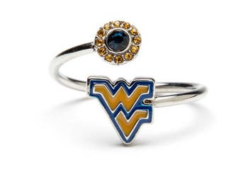West Virginia Ring | WVU Mountaineers - Gold and Blue Block WV Ring with Crystals | Officially Licensed West Virginia University Jewelry