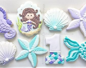 Mermaid Cookies, Under the Sea Cookies, Mermaid Birthday, First Birthday Cookies, Starfish Cookies, Sea Shell Cookie, Under the Sea Birthday