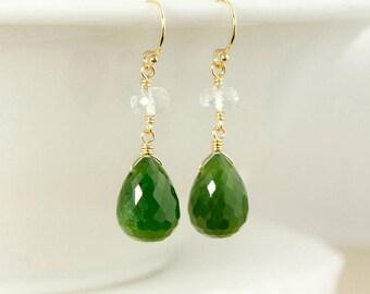 Gold Crystal Quartz & Nephrite Jade Dangle Earrings - 14Kt Gold Filled