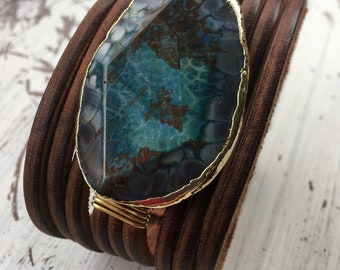 Blue agate leather cuff