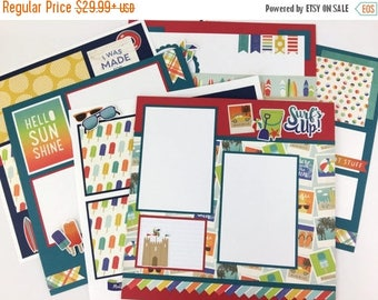 25% OFF SALE 12x12 Summer Scrapbook Page Kit or Premade Pre-Cut with Instructions 6 pages Beach Vacation Surf Sand