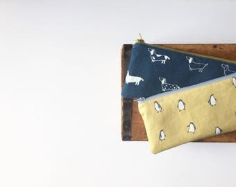 Cute Animal Pencil cases, Yellow Penguin Print, Blue Dachshund, Back to School, School Supplies, Penguin and Dog Zipper Pouch