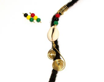 Dreadlock Jewelry - Golden Swirl Rasta - Caribbean Flair Loc Jewel