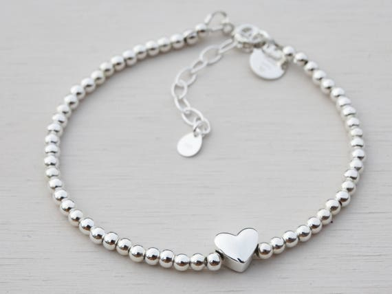 Silver Bead & Heart Bracelet, Sterling Silver