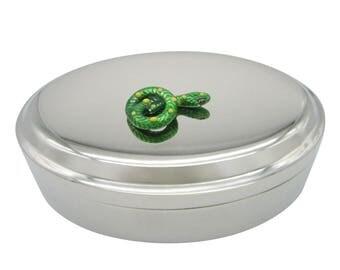 Green Snake Oval Trinket Jewelry Box