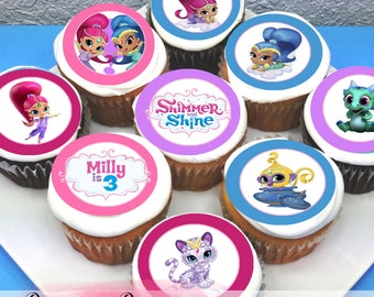 "Shimmer & Shine Edible Icing Cupcake Toppers - 2"" - PRE-CUT Sheet of 15"
