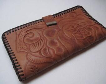Vintage Hand Tooled Brown Leather Wallet