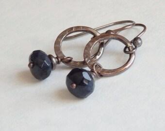 Dark Blue Earrings, Simple Stone Drop on Hammered Copper Oval Rings, Dumortierite Jewelry,  Minimal Copper Jewelry