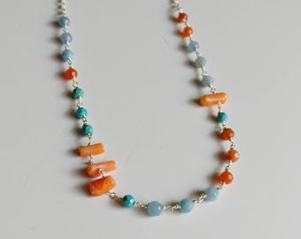 Silver necklace with bamboo coral and agate turquoise paste