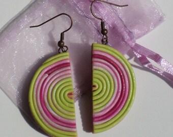 Swirl Candy - Earrings, handmade