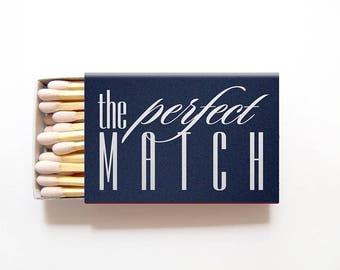 The Perfect Match Custom Wedding Matches - Foil Stamped Personalized Sparkler Matches, Wedding Favor, Wedding Matchbox, Custom Matchbox