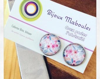 Boucles doreilles, earrings, 20mm, flowers, floral , printannier, acier chirurgical, hypoallergene , clous, fleurs