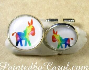 Donkey Cufflinks, Donkey Mens Gifts, Donkey Mens Jewelry, Donkey Jewelry, Donkey Gifts, Rainbow Donkey, Burro Cufflinks, Burro Gifts